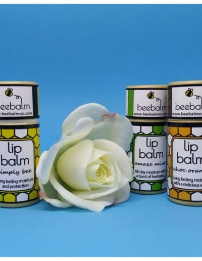 trio of natural lip balm - simply bee, choc orange and amaze mint flavours